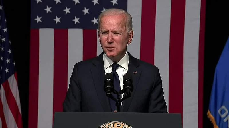 Joe Biden speaking in Oklahoma to commemorate 100 years since the Tulsa Race Massacre