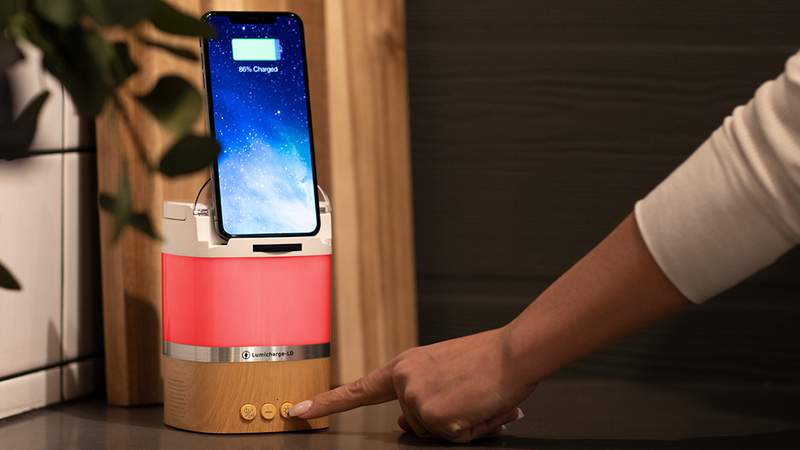 Listen to music, add mood lighting, and charge your phone with the LumiCharge.