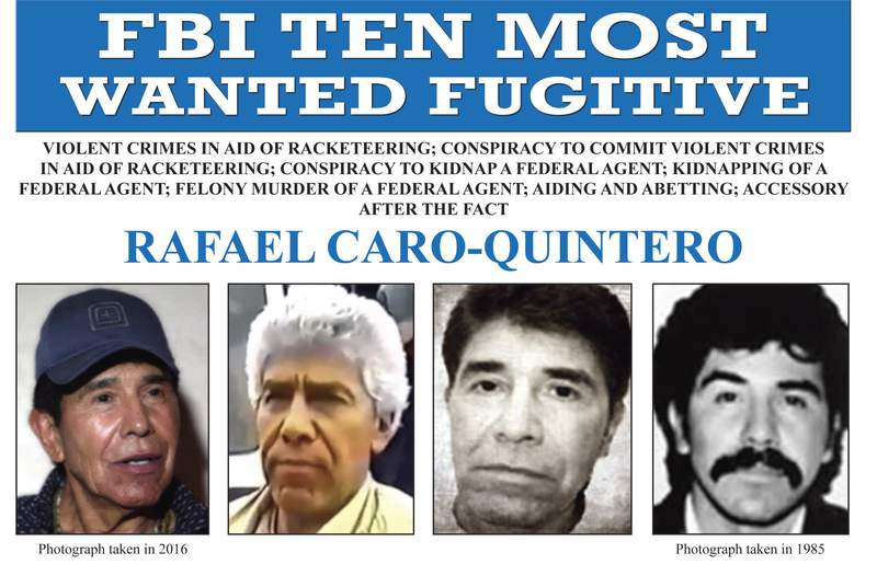 FILE - In this image released by the FBI shows the wanted poster for Rafael Caro Quintero, who tortured and murdered U.S. Drug Enforcement Administration agent Enrique Kiki Camarena in 1985. On Wednesday, April 7, 2021, Mexican President Andres Manuel Lopez Obrador has defended the 2013 ruling that freed Caro Quintero, even though Mexicos Supreme Court later ruled it was a mistake. (FBI via AP, File)