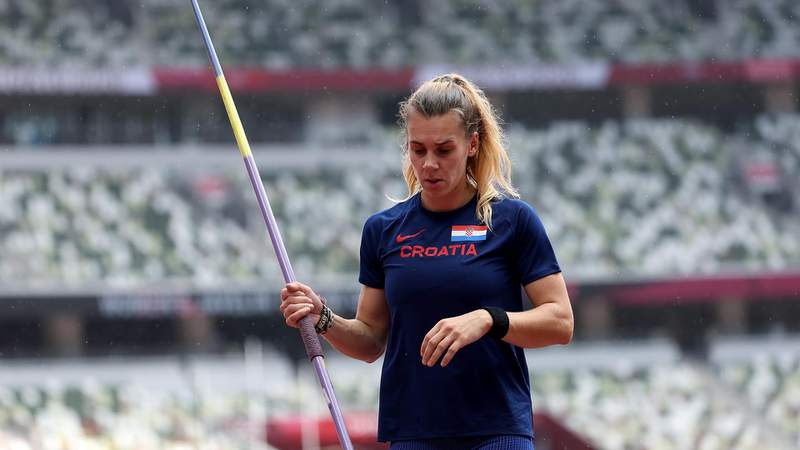 TOKYO, JAPAN - AUGUST 03: Sara Kolak of Team Croatia competes in the Women's Javelin Throw Qualification on day eleven of the Tokyo 2020 Olympic Games at Olympic Stadium on August 03, 2021 in Tokyo, Japan. (Photo by Igor Kralj/PIXSELL/MB Media/Getty Images)