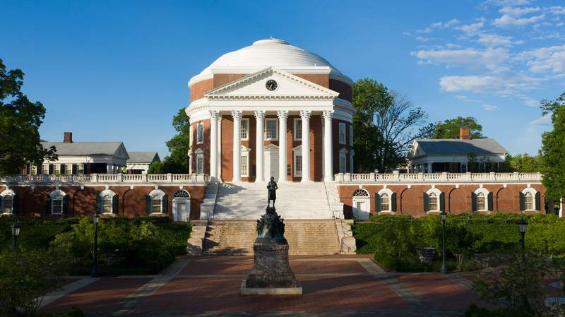A statue of Thomas Jefferson stands in front of the Rotunda at the University of Virginia on graduation weekend at the school Saturday May 16, 2020, in Charlottesville, Va. (AP Photo/Steve Helber)