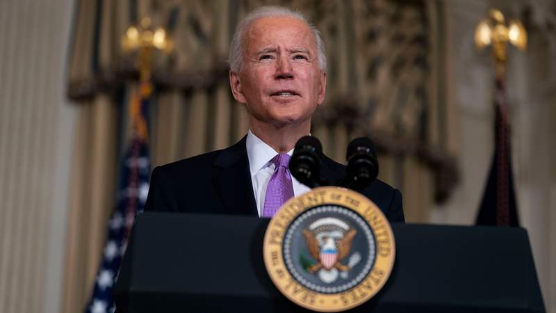 U.S. President Joe Biden speaks about his racial equity agenda in the State Dining Room of the White House on January 26, 2021 in Washington, DC. (Photo by Doug Mills-Pool/Getty Images)