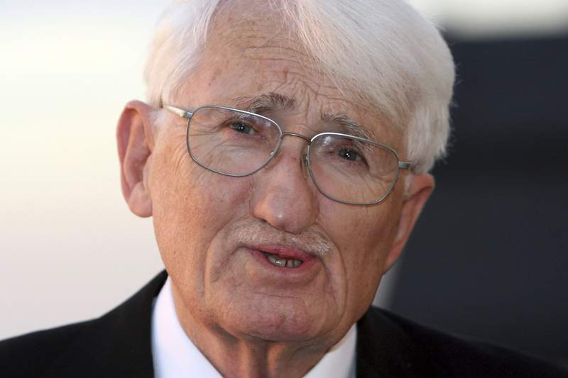 FILE-In this Nov. 7, 2006 taken photo German philosoph Juergen Habermas is seen in Koenigswinter near Bonn, Germany. The prominent German philosopher Juergen Habermas says he will not accept a high-priced literary award from the United Arab Emirates which he initially said hed be happy to receive. (AP Photo/Hermann J. Knippertz)