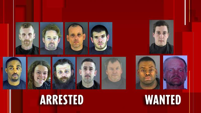Nine arrested, three wanted in connection to narcotic round-up in Bedford County