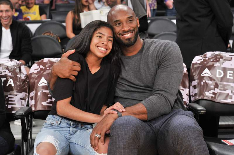 Kobe Bryant and his daughter Gianna Bryant attend a basketball game between the Los Angeles Lakers and the Atlanta Hawks at the Staples Center on Nov. 17, 2019.
