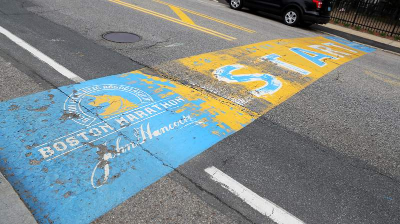 A view of the Boston Marathon starting line on April 20, 2020 in Hopkinton, Massachusetts. (Photo by Maddie Meyer/Getty Images)