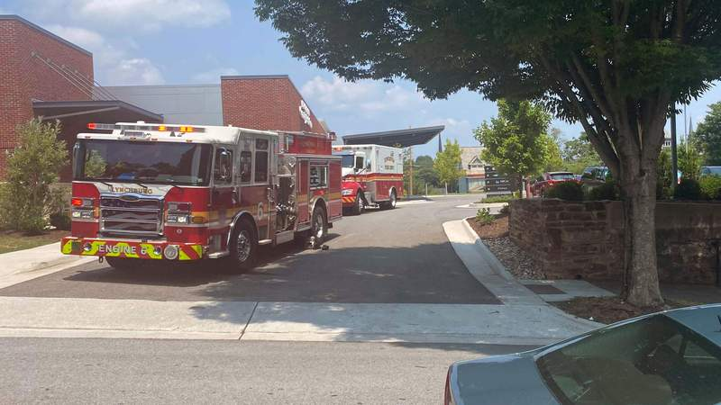 First responders at the scene of a natural gas leak in Lynchburg, Virginia, on July 19, 2021.