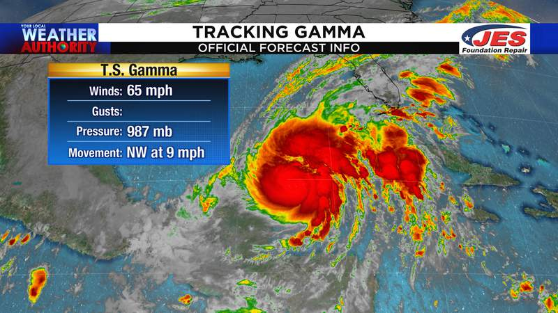 Tropical Storm Gamma current info as of Saturday morning