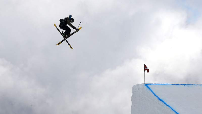 A freestyle skier competes in the Snowboard & AFP Freeski Big Air Finals during the Winter Games NZ at Cardrona Alpine Resort on Aug. 30, 2015 in Wanaka, New Zealand.
