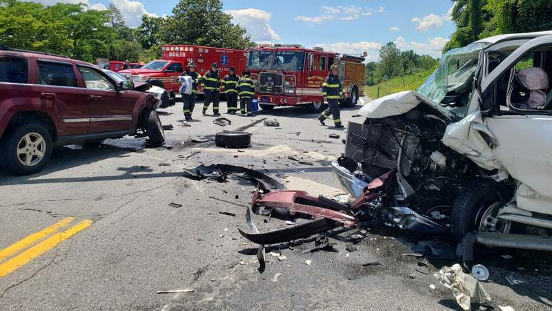 One person is in the hospital after a crash in Bedford County