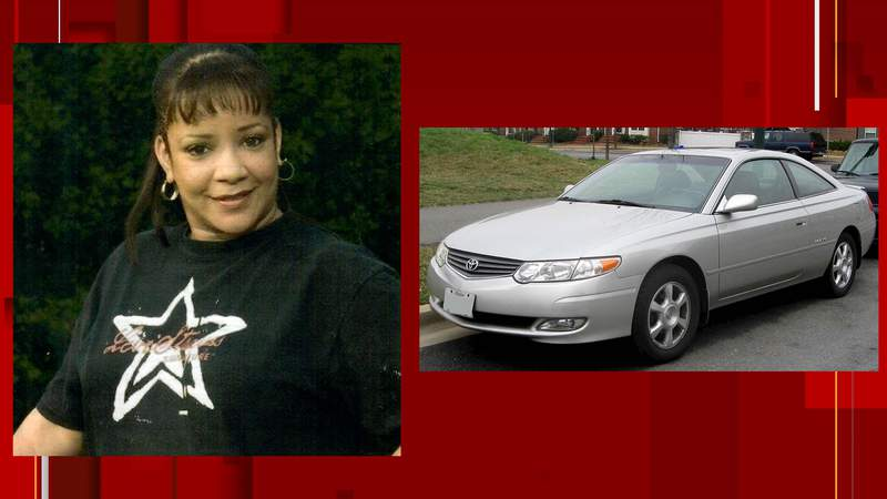 Jeneen Lavita Valentine pictured with a car that's the same make and model as the one in which she may be traveling.