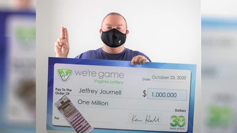 Jeff Journell won $1 million playing Millionaire Maker from the Virginia Lottery.