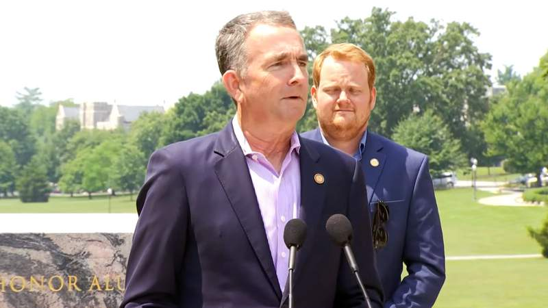 Gov. Ralph Northam speaking while at Virginia Tech on July 29, 2021.