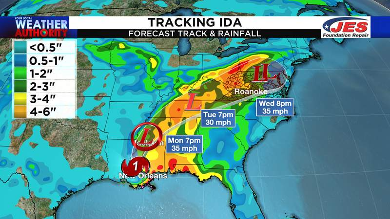 Track on Ida along with projected rain totals
