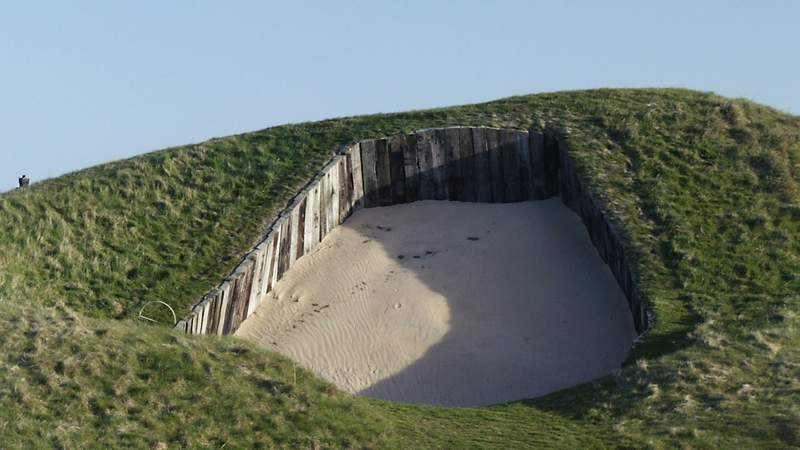 General view of the massive bunker on the 4th hole at Royal St Georges Golf, pictured in 2003. The bunker has since had its wood plank walls removed, but it's size remains the same. (Photo by David Cannon)