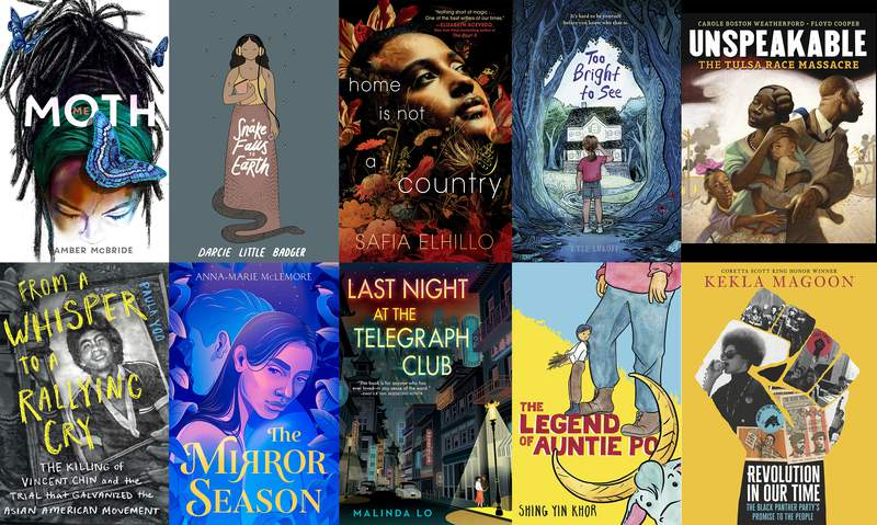 """This combination of photos shows cover art for the books competing for the National Book Award for young people's literature, top row from left, """"Amber McBride's Me (Moth),"""" Darcie Little Badger's A Snake Falls to Earth, Safia Elhillo's Home Is Not a Country, Kyle Lukoff's Too Bright to See, Carole Boston Weatherford's Unspeakable: The Tulsa Race Massacre, bottom row from left, Paula Yoo's From a Whisper to a Rallying Cry,"""" Anna-Marie McLemore's The Mirror Season, Malinda Lo's Last Night at the Telegraph Club, Shing Yin Khor's """"The Legend of Auntie Po,"""" and Kekla Magoon's """"Revolution in Our Time: The Black Panther Partys Promise to the People."""" (Top row from left, Feiwel & Friends, Levine Querido, Make Me a World, Dial Books, Carolrhoda Books, bottom row from left, Norton Young Readers, Feiwel & Friends, Dutton Books for Young Readers, Candlewick via AP)"""