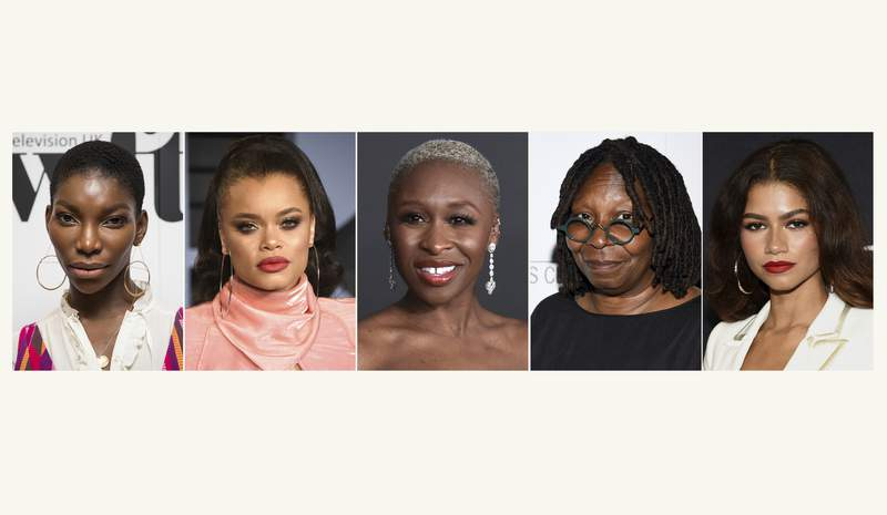 This combination photo shows actress Michaela Coel, from left, Andra Day, Cynthia Erivo, Whoopi Goldberg and Zendaya. Essence announced on Tuesday, March 30, 2021, that the actresses are among the honorees at this year's Essence Black Women in Hollywood event. The 14th annual ceremony will live stream on Essence.com on April 22 at 7 PM EST. (AP Photo)