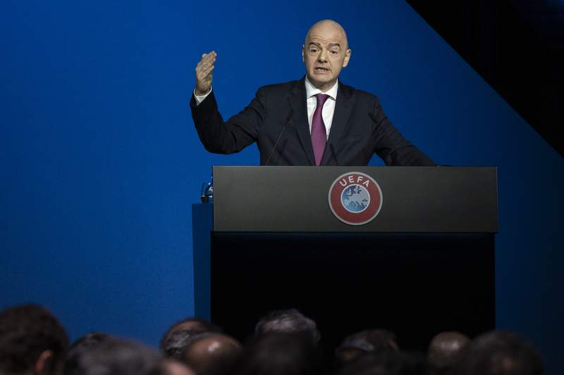 FIFA President Gianni Infantino addresses a meeting of European soccer leaders at the congress of the UEFA governing body in Amsterdam's Beurs van Berlage, Netherlands, Tuesday, March 3, 2020. (AP Photo/Peter Dejong)