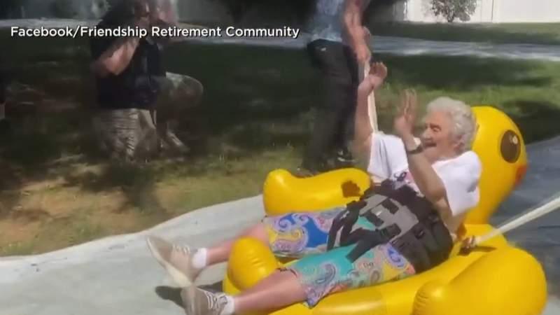 Senior citizens enjoy slip 'n slide event
