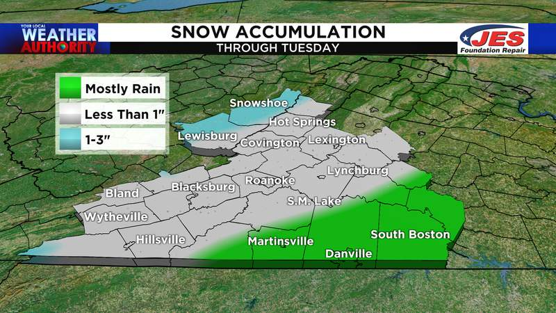Snow accumulation forecast through Tuesday