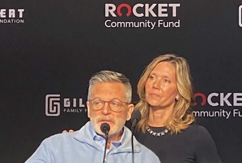 Dan and Jennifer Gilbert, founders of the Gilbert Family Foundation, discuss details Thursday, March 25, 2021, in Detroit, of a $500 million fund aimed at improving Detroit neighborhoods over the next decade. The effort is kicking off with $15 million to pay off the property tax debt of 20,000 of the city's poorest homeowners. In addition to starting Quicken Loans, now known as Rocket Mortgage, Dan Gilbert founded the Rock family of companies and owns the NBA's Cleveland Cavaliers.(AP Photo/Corey Williams)