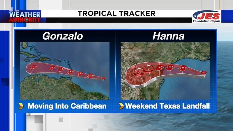 Gonzalo and Hanna current tropical storms in the Atlantic basin