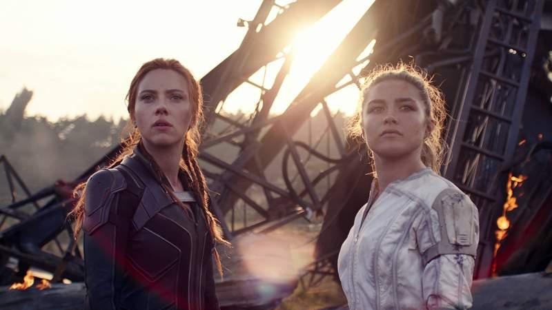 "Scarlett Johansson and Florence Pugh in ""Black Widow."""