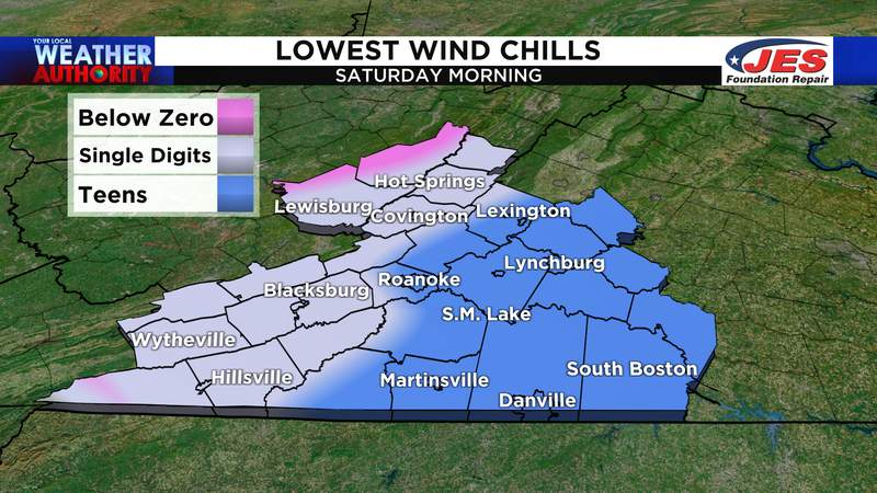 Lowest wind chill for Saturday, 2/20/2021