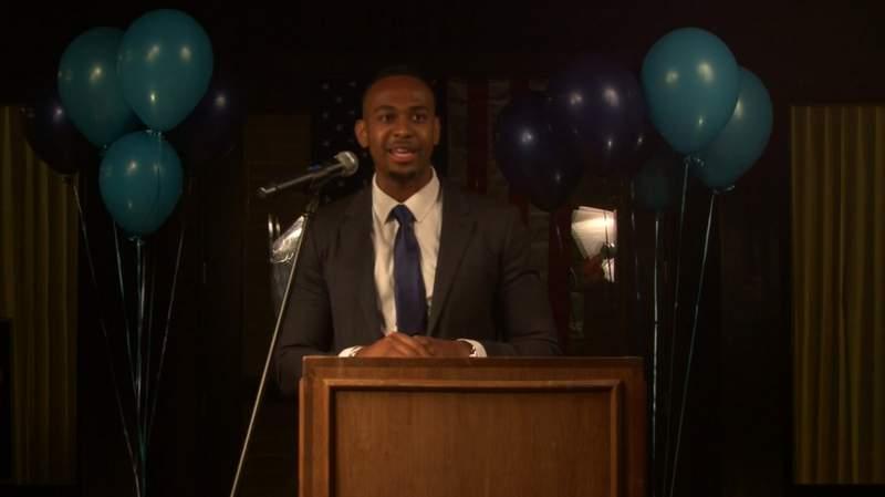 Cameron Webb gives a speech on election night on Nov. 3, 2020