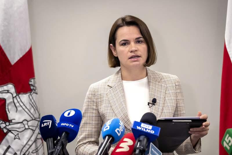 Belarusian opposition leader Sviatlana Tsikhanouskaya speaks during her news conference in Vilnius, Lithuania, Wednesday, July 7, 2021. (AP Photo/Mindaugas Kulbis)