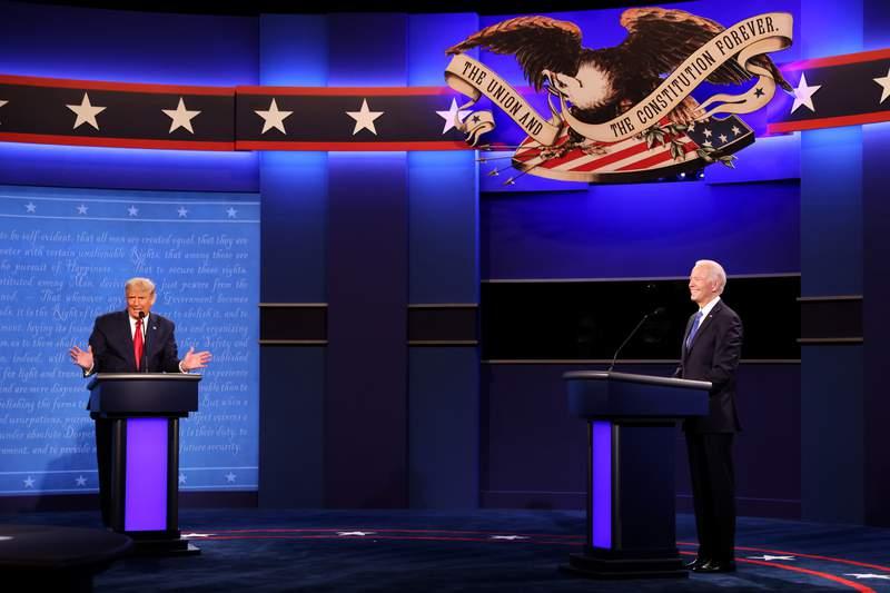 President Donald Trump and Democratic presidential nominee Joe Biden participate in the final presidential debate at Belmont University in Nashville, Tennessee.