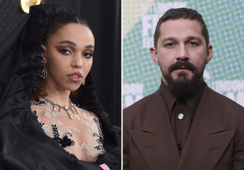 """This combination photo shows FKA twigs, left, at the 62nd annual Grammy Awards on Jan. 26, 2020, in Los Angeles and Shia LaBeouf at the premiere of """"The Peanut Butter Falcon"""" during the London Film Festival on Oct. 3, 2019. FKA twigs filed a lawsuit Friday, Dec. 11, 2020, alleging that LaBeouf was physically and emotionally abusive during a relationship in 2018 and 2019, saying the experience was part of a pattern of terrorizing women for the 34-year-old actor. (AP Photo)"""