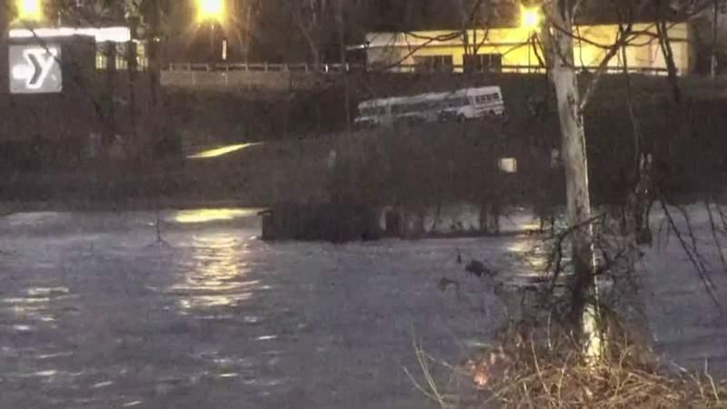 Dan River reaches flood stage in Danville, Virginia on Feb. 6, 2020