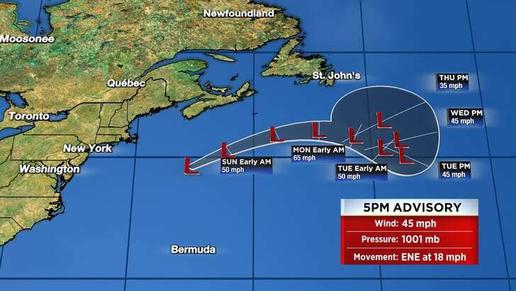 Tropics Forecast Cone at 10:05 Saturday Evening, September 18th