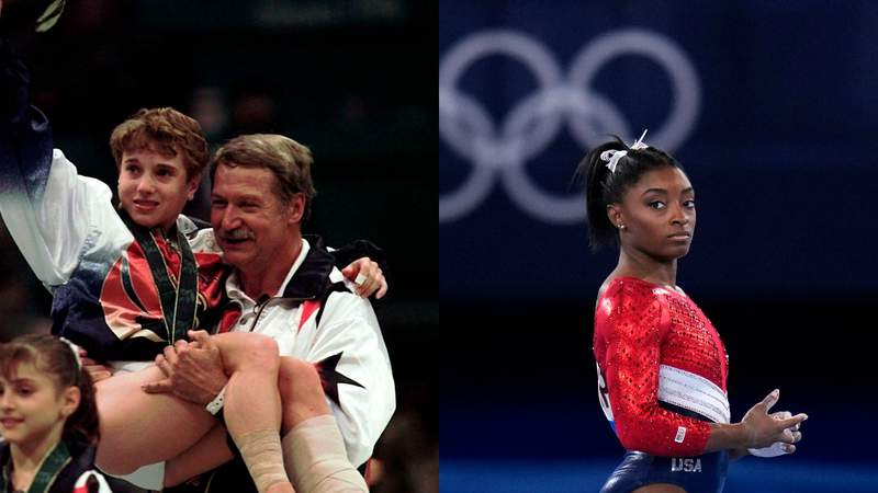 LEft: Bela Karolyi carries injured Kerri Strug following the awarding ceremony at the women's team gymnastics competition at the Centennial Summer Olympic Games in Atlanta. Right: Simone Biles, of the United States, waits to perform on the vault during the artistic gymnastics women's final at the 2020 Summer Olympics.