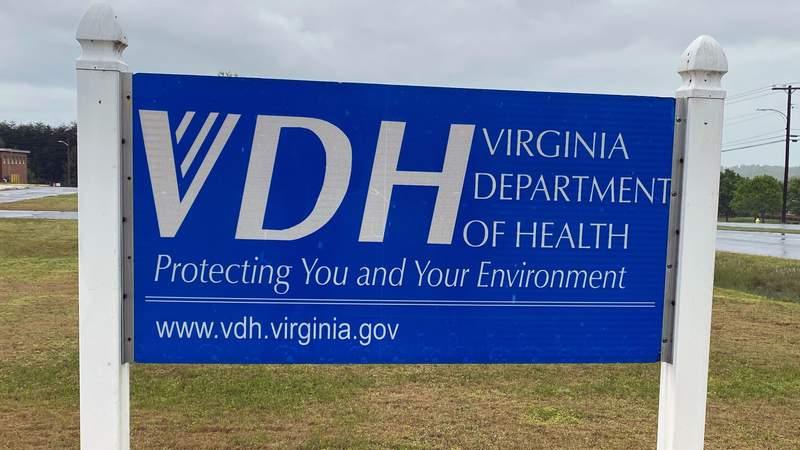 Virginia Department of Health sign in Martinsville, Virginia.