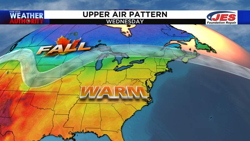 Upper air pattern by the middle of the week