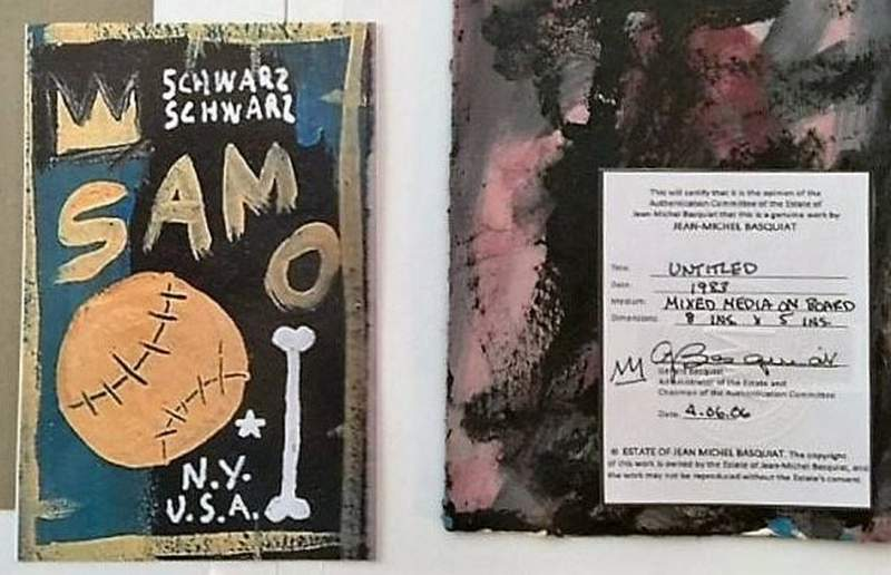 This evidence photo released by the United States Attorney Central District of California shows bogus artwork, a fake Jean-Michel Basquiat. A Southern California man who authorities say tried to sell $6 million worth of phony paintings he claimed were created by Andy Warhol, Jean-Michel Basquiat and other modern masters has been sentenced to five years in federal prison. Philip Righter of West Hollywood was sentenced Wednesday in a federal court in Miami in a Los Angeles case. (United States Attorney Central District of California via AP)
