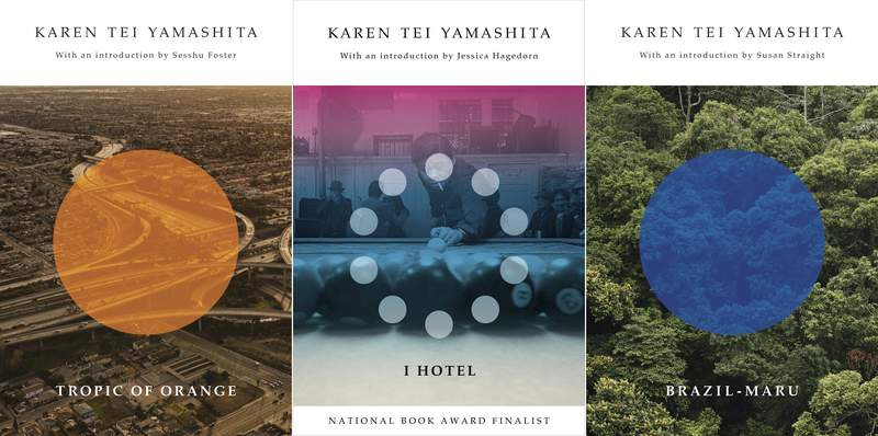 """This combination of photos shows cover art for """"A Tropic of Orange,"""" from left, """"I Hotel,"""" and """"Brazil-Maru,"""" by author Karen Tei Yamashita. The National Book Foundation announced Friday that Yamashita has been awarded its medal for Distinguished Contribution to American Letters. The 70-year-old Yamashita is an author and playwright who in such fiction (and meta-fiction) as I Hotel and Tropic of Orange blends multiple perspectives and narrative styles. (Coffee House Press via AP)"""