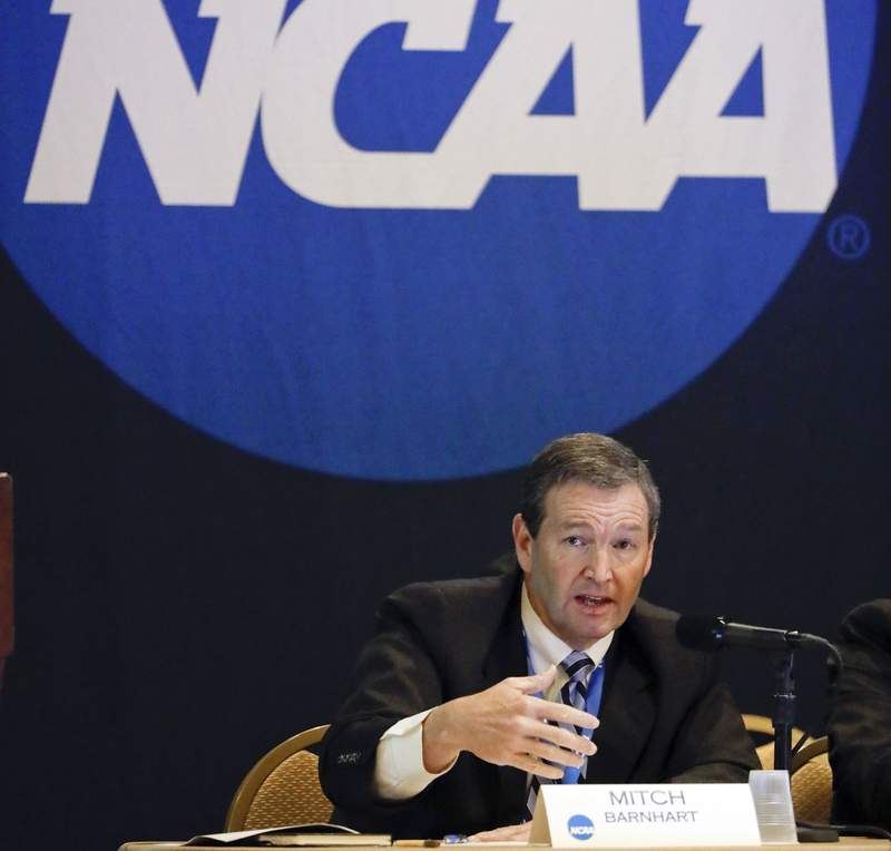 FILE - In this Jan. 19, 2017, file photo, Mitch Barnhart, athletic director at Kentucky, takes part in a panel discussion at the NCAA Convention in Nashville, Tenn. There is no need to worry about geography in this year's NCAA Tournament. Get ready for plenty of talk about the so-called S curve instead. And do not worry  it's not that complicated. (AP Photo/Mark Humphrey, File)