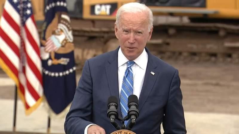 President Joe Biden speaking while in Michigan on Oct. 5, 2021
