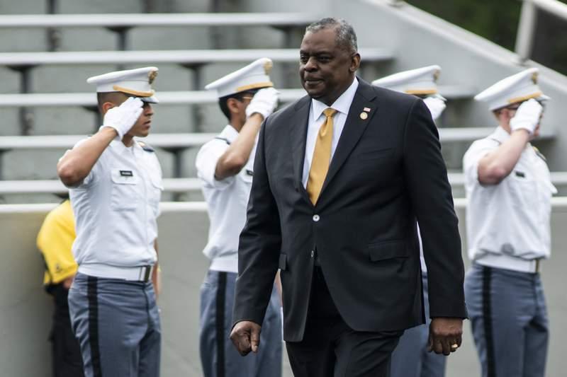Defense Secretary Lloyd Austin arrives to attend United States Military Academy graduating ceremony on Saturday, May 22, 2021, in West Point, N.Y. (AP Photo/Eduardo Munoz Alvarez)