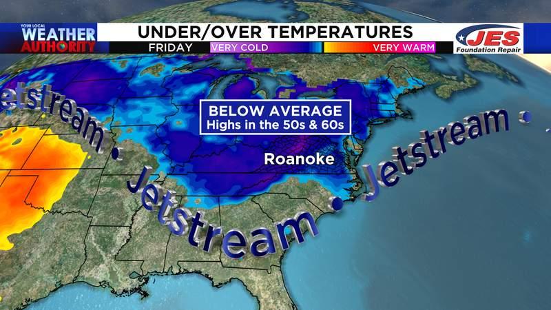 Below average temperatures expected Thursday through Saturday
