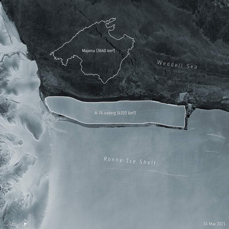 This handout image provided by the European Space Agency (ESA) shows a representation of the size of an which iceberg has calved from the western side of the Ronne Ice Shelf, lying in the Weddell Sea, in Antarctica. A vast iceberg that broke off from Antarctic earlier this month could drift through the ocean for years before it breaks up and melts away, a scientist from the ESA said Friday, May 21, 2021. Spotted in recent images captured by the Copernicus Sentinel-1 mission, the iceberg is around 170 km in length and 25 km wide, and is slightly larger than the Spanish island of Majorca. (ESA via AP)