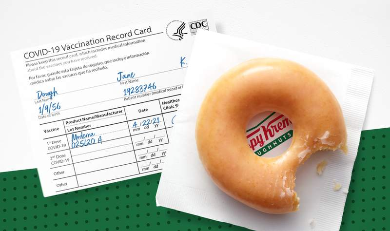 Krispy Kreme is finding ways to be sweet as the U.S. continues to scale COVID-19 vaccinations. To show our support for those who choose to get vaccinated, starting Monday, 3/22, anyone who shows their COVID-19 Vaccination Record Card will receive a free Original Glazed® doughnut.