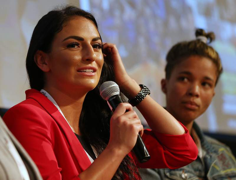 NEW YORK, NY - SEPTEMBER 13: WWE wrestler Sonya Deville, left and Michaylah Petersen, Surf Coach with Waves for Change talk during the Beyond Sport United Conference at NYU on September 13, 2018 in New York City. (Photo by Rich Schultz/Getty Images)