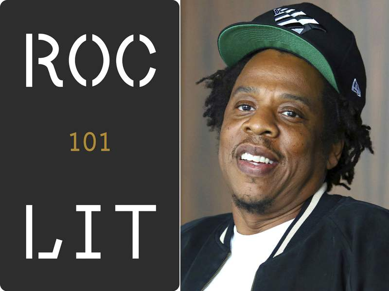 This combination photo shows the logo for a new imprint for Roc Lit 101, left, and Jay-Z, founder of Roc Nation, who is starting the imprint with Random House. (AP Photo)