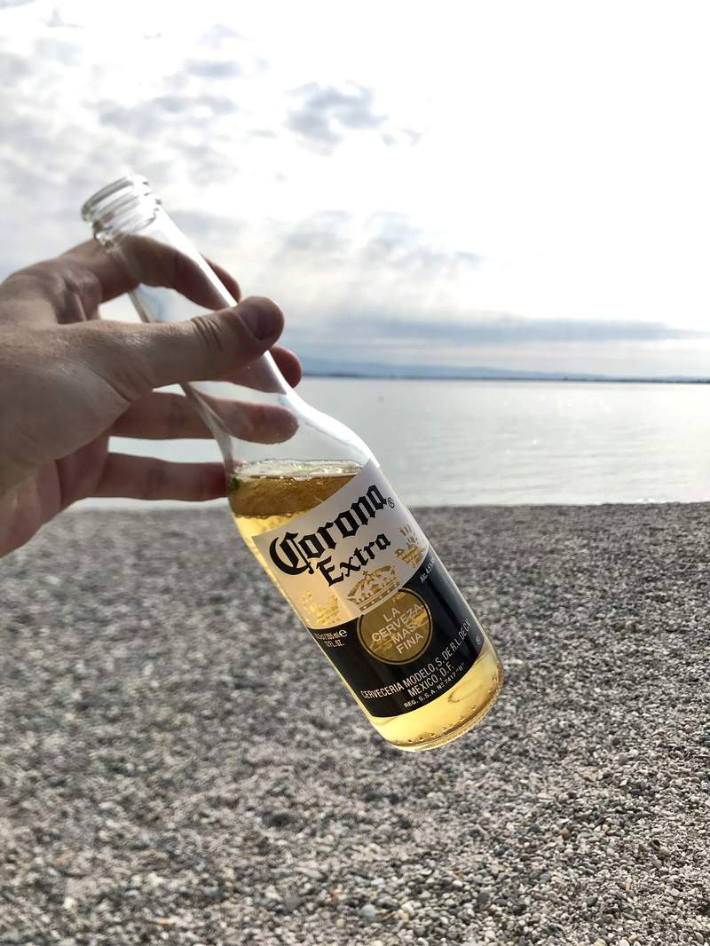 Pictured is a Corona beer.