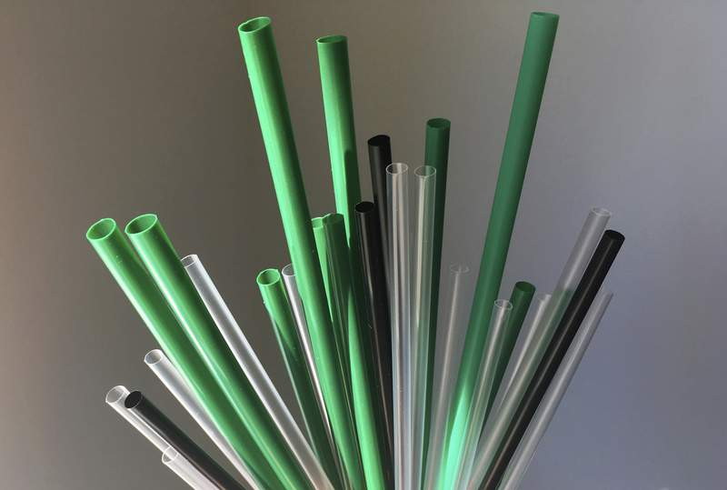 FILE - This May 23, 2018 file photo shows plastic drinking straws in New York. A ban on plastic straws, stirrers and cotton buds came into force in England on Thursday Oct. 1, 2020, after a six-month delay caused by the coronavirus pandemic. (AP Photo/Barbara Woike, File)