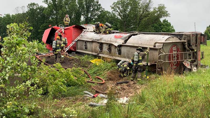 Several local agencies sent crews to help with a crash in Gretna on Thursday morning involving a fuel spill from a tanker tractor-trailer.